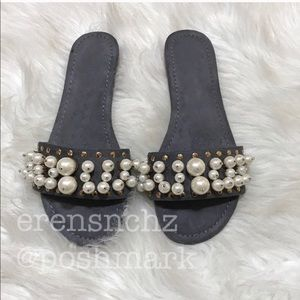 Shoes - Embellished Slide Sandal in GRAY!